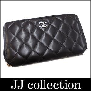 CHANEL シャネル マトラッセ ラウンドファスナー財布 レザー ブラック×シルバー金具 jjcollection2008