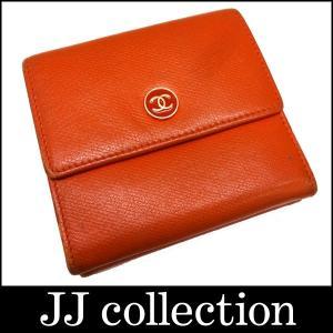 CHANEL シャネル Wホックコンパクト財布 ココボタン オレンジ×ベージュ レザー jjcollection2008