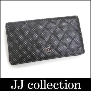 CHANEL シャネル 二つ折り長財布 マトラッセ パンチングドット カーフ ブラック A31509 jjcollection2008