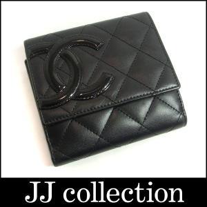 CHANEL シャネル 二つ折り財布 Wホック カンボンライン ブラック×内側ピンク jjcollection2008