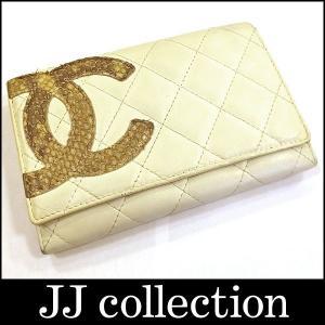 CHANEL シャネル 2つ折り財布 カンボンライン カーフスキン×パイソン jjcollection2008