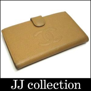 CHANEL シャネル がま口小銭入れ付き二つ折り長財布 キャビアスキン ベージュ×ゴールド金具 jjcollection2008