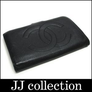 CHANEL シャネル がま口小銭入れ付き二つ折り長財布 キャビアスキン ブラック×ゴールド金具 jjcollection2008