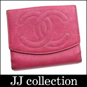 CHANEL シャネル Wホック二つ折り財布 A01427 ココマーク キャビアスキン ピンク A01427【中古】[mo]|jjcollection2008