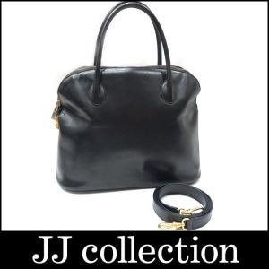 CELINE セリーヌ 2WAYショルダーバッグ レザー ブラック×ゴールド金具|jjcollection2008
