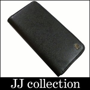 dunhill ラウンドファスナー長財布 ボードン レザー ブラック×シルバー金具|jjcollection2008