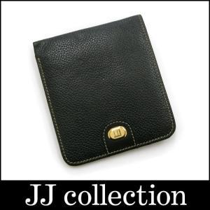 dunhill 二つ折り財布 ブラック 型押しレザー×ゴールド金具|jjcollection2008