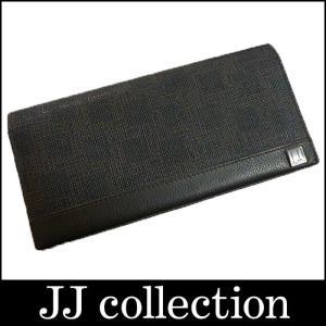 DUNHILL ディーエイト 二つ折り長財布 ブラック PVC×レザー|jjcollection2008