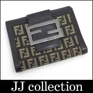 Wホック二つ折り財布 ズッカ柄×ダークブラウン キャンバス×レザー シルバー金具|jjcollection2008