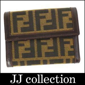 FENDI フェンディ 三つ折り財布 ズッカ柄 ダークブラウン|jjcollection2008