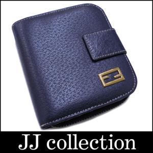 FENDI フェンディ 二つ折りコンパクト財布 ネイビー×ゴールド金具 レザー|jjcollection2008