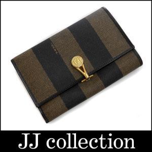 FENDI フェンディ 三つ折り財布 ペカン柄 ブラック×ダークブラウン PVC×レザー|jjcollection2008