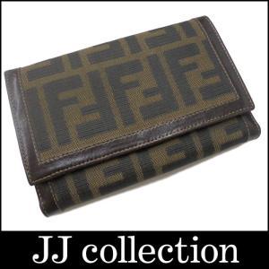 FENDI フェンディ ズッカ柄二つ折りコンパクト財布 ブラウン×カーキ キャンバス×レザー|jjcollection2008