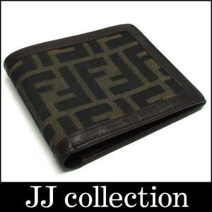 FENDI フェンディ 小銭入れ付き二つ折り財布 ズッカ柄 ブラウン×ブラック|jjcollection2008