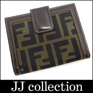 FENDI フェンディ Wホック二つ折り財布 ズッカ柄×ブラウン キャンバス×レザー|jjcollection2008