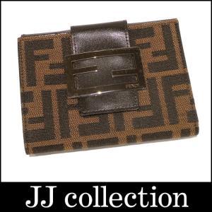 FENDI フェンディ Wホック二つ折り財布 ブラウン ズッカ柄 キャンバス|jjcollection2008