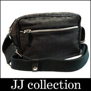 BVLGARI ショルダーバッグ ロゴマニア レッタレ ブラック×シルバー金具 キャンバス×レザー|jjcollection2008
