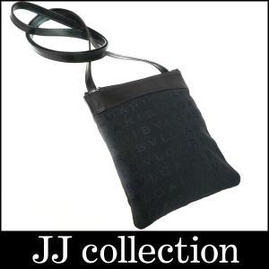BVLGARI ショルダーポーチ マチなし ミニショルダーバッグ ロゴマニア キャンバス×レザー ブラック|jjcollection2008