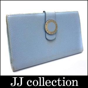 BVLGARI ブルガリ 長財布 レザー ブルー系|jjcollection2008