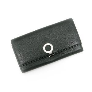 【中古】ブルガリ 二つ折り長財布 ブルガリブルガリ ブラック レザー