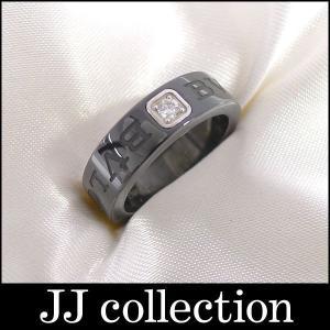 BVLGARI ブルガリ ダブルロゴリング 1Pダイヤ ブラックセラミック K18WG(750 18K) 表記サイズ:47|jjcollection2008