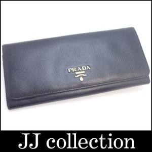 PRADA プラダ 二つ折り長財布 サフィアーノ レザー ブラック|jjcollection2008