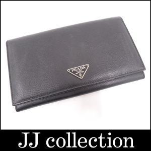 PRADA プラダ サフィアーノレザー 2つ折り長財布 ブラック|jjcollection2008