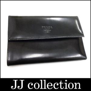 PRADA プラダ 三つ折り財布 SPAZZOLATO エナメルレザー ブラック|jjcollection2008