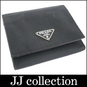 PRADA プラダ 三つ折り財布 ナイロン/レザー ブラック|jjcollection2008