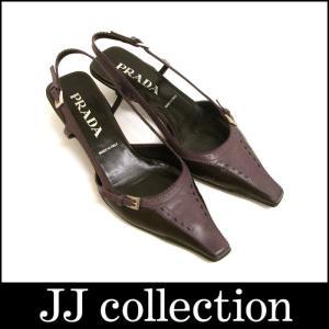 PRADA プラダ パンプス 紫×こげ茶 レザー シルバー金具 表記サイズ:37|jjcollection2008