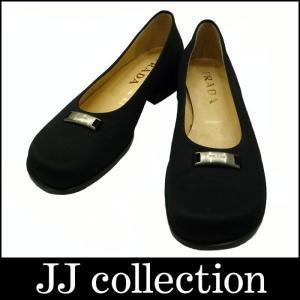 PRADA プラダ パンプス ロゴプレート キャンバス ブラック(黒) 表記サイズ:36|jjcollection2008