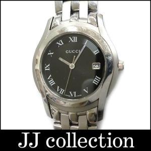 GUCCI グッチ メンズ腕時計 SS クオーツ デイト ブラックローマン文字盤×シルバー|jjcollection2008