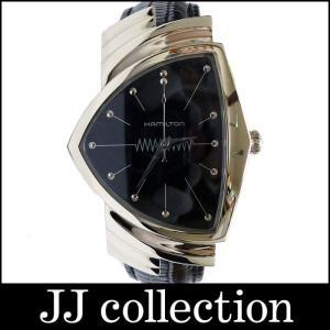 HAMILTON ハミルトン メンズ腕時計 ベンチュラ SS×革 クオーツ 黒文字盤 シルバー H24411732 H244112|jjcollection2008