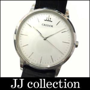 SEIKO セイコー クレドール メンズ腕時計 シグノ SS×レザー クオーツ ホワイト文字盤|jjcollection2008