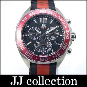 TAG HEUER タグホイヤー フォーミュラ1 マクラーレン30周年モデル SS×ナイロンベルト(ブラック×レッド) クォーツ ブラック文字盤|jjcollection2008