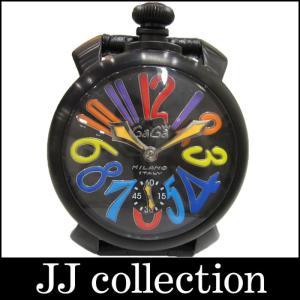 GaGaMILANO ガガミラノ メンズ腕時計 マヌアーレ48 SS×レザー 手巻き ブラック文字盤 マルチカラー スモールセコンド|jjcollection2008