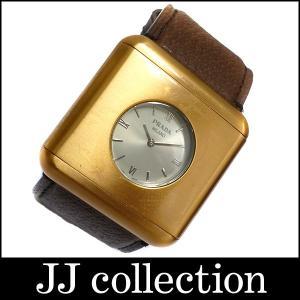 PRADA プラダ スクエア クオーツ メンズ腕時計 SS×レザー ゴールド×ブラウン jjcollection2008