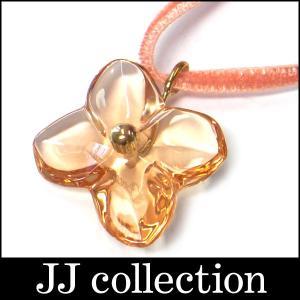 Baccarat バカラ ネックレス ペンダント フラワーモチーフ オレンジ×ゴールド(750・K18)|jjcollection2008