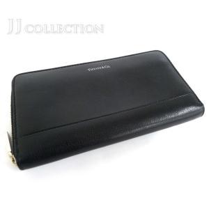 TIFFANY&Co. ティファニー ラウンドファスナー長財布 ブラック レザー【中古】[wa] jjcollection2008