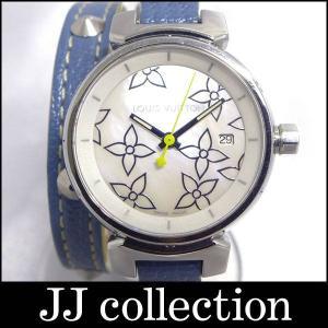 LOUIS VUITTON レディース腕時計 タンブール Q121C クオーツ SS/レザー スタッズ マザーオブパール ホワイトシェル文字盤 3連ブレスレット風 jjcollection2008