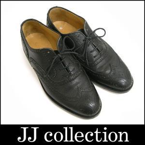 GIORGIO ARMANI ジョルジオ アルマーニ メンズシューズ ブラック 紐靴 ウイングチップ レザー 表記サイズ:6|jjcollection2008