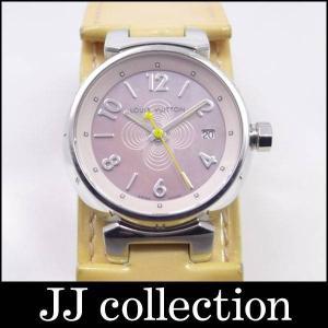 LOUIS VUITTON レディース腕時計 タンブール・ワイドストラップ Q1216 クオーツ SS/エナメル マザーオブパール ピンクシェル文字盤 幅広ベルト jjcollection2008