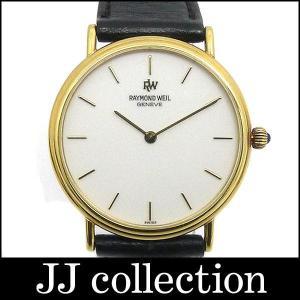 レイモンドウィル メンズ腕時計 K18YG(750 18K)×レザー(黒) クォーツ ホワイト文字盤中古|jjcollection2008