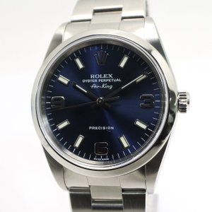 ROLEX ロレックス エアキング ネイビー文字盤 14000M メンズウォッチ 腕時計 K番【中古...