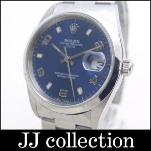 ROLEX ロレックス オイスターパーペチュアルデイト 15200 SS メンズ腕時計 飛びアラビア ブルー文字盤|jjcollection2008