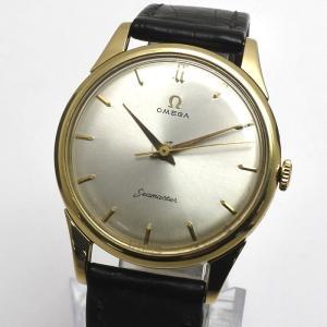 OMEGA オメガ メンズ腕時計 シーマスター K18YG×レザー 手巻き ゴールド文字盤|jjcollection2008