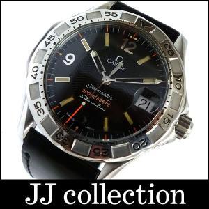 シーマスター マチック メンズ腕時計 SS×レザー オートクオーツ 2516.50 ブラック文字盤中古|jjcollection2008