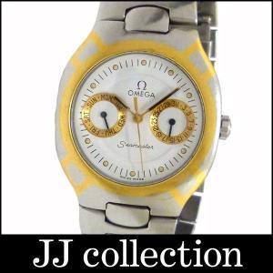 OMEGA オメガ メンズ腕時計 シーマスター ポラリス デイデイト SS×GP クオーツ ホワイト文字盤|jjcollection2008