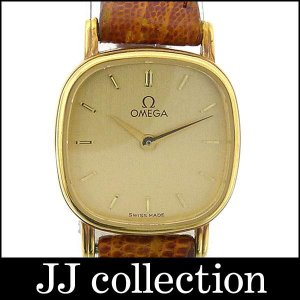 OMEGA オメガ レディース腕時計 プッシュリューズ K18YG(750)×レザー クオーツ ゴールド文字盤中古|jjcollection2008