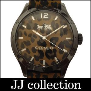 COACH コーチ メンズ腕時計 レオパード柄 SS×ラバー クオーツ ブラウン文字盤|jjcollection2008